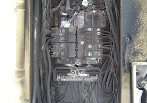 Typical look of a burnt FPE panels